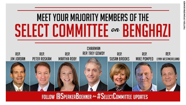 Speaker of the House John Boehner tweeted this image of the Republican members of the House select committee looking into the Benghazi diplomatic compound attack.