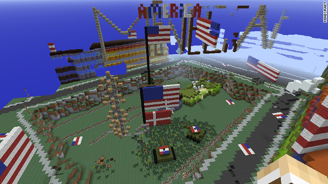 "Vandals invaded virtual Denmark in the game ""Minecraft,"" trashing it with American pride. This is why we can't have nice things."
