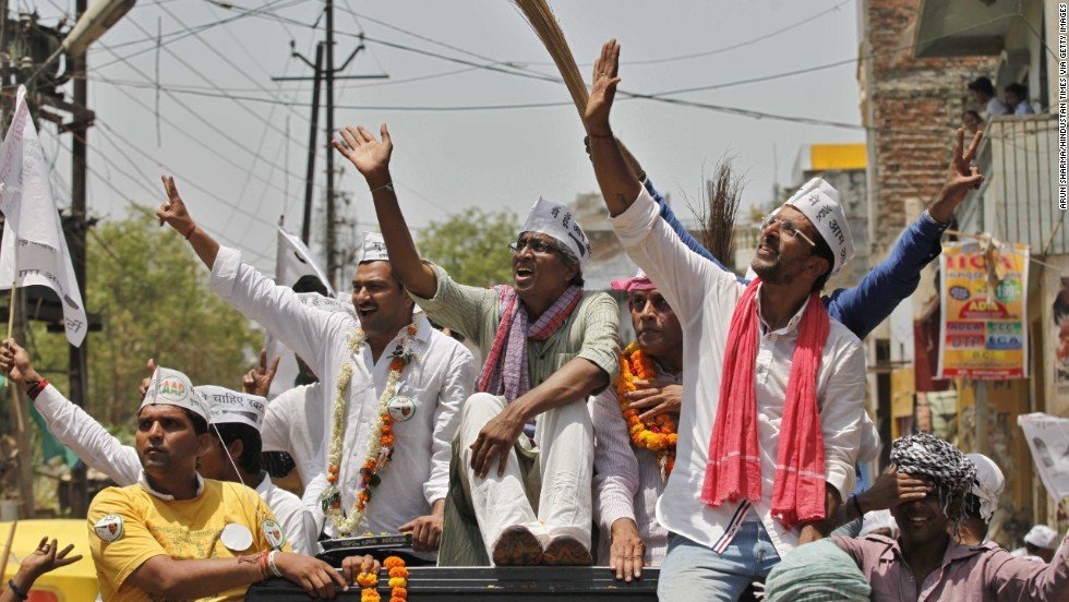 Former TV journalist Ashutosh and actor Jaaved Jaffrey, who are Aam Aadmi Party parliamentary candidates, help campaign for party leader Arvind Kejriwal in Varanasi. Kejriwal established the party in response to the anti-corruption protests in 2011-12, and the party had a surprise showing in the 2013 local elections for the Delhi Assembly.