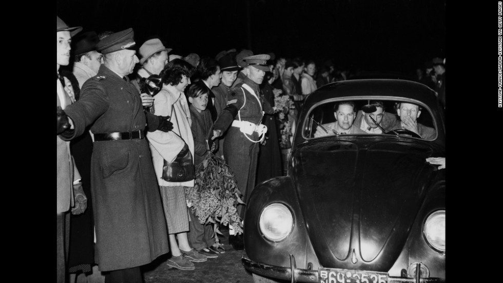 Some of the first British cars enter Berlin after the blockade.