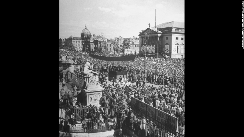 People fill the streets after all sections of Berlin were opened after the blockade.