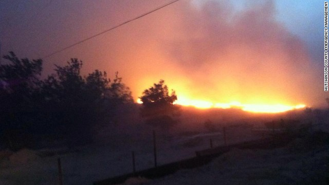 Wildfire burns in Texas panhandle.
