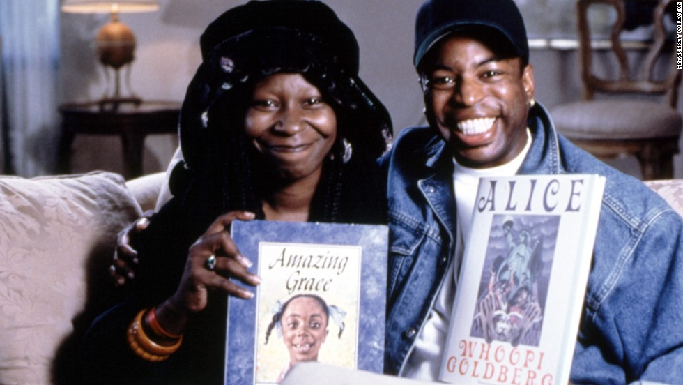 "The TV show, which aired from 1983 to 2009, often drew celebrities such as Whoopi Goldberg. Here, Goldberg and Burton promote ""Amazing Grace"" by Mary Hoffman as well as the actress' own book ""Alice."""