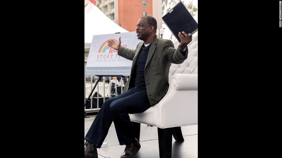 """What I've learned from 'Reading Rainbow' is that everybody's got a story,"" Burton said. ""People are infinitely interesting. We are entertainment, information, insight and inspiration."" Here, Burton speaks from the children's stage at the Los Angeles Times Festival of Books in April."