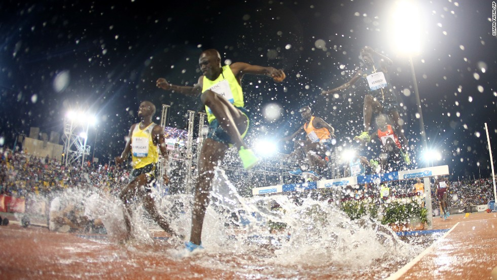 Athletes compete in the men's 3,000-meter steeplechase at the IAAF Diamond League in the Qatari capital Doha on Friday, May 9.