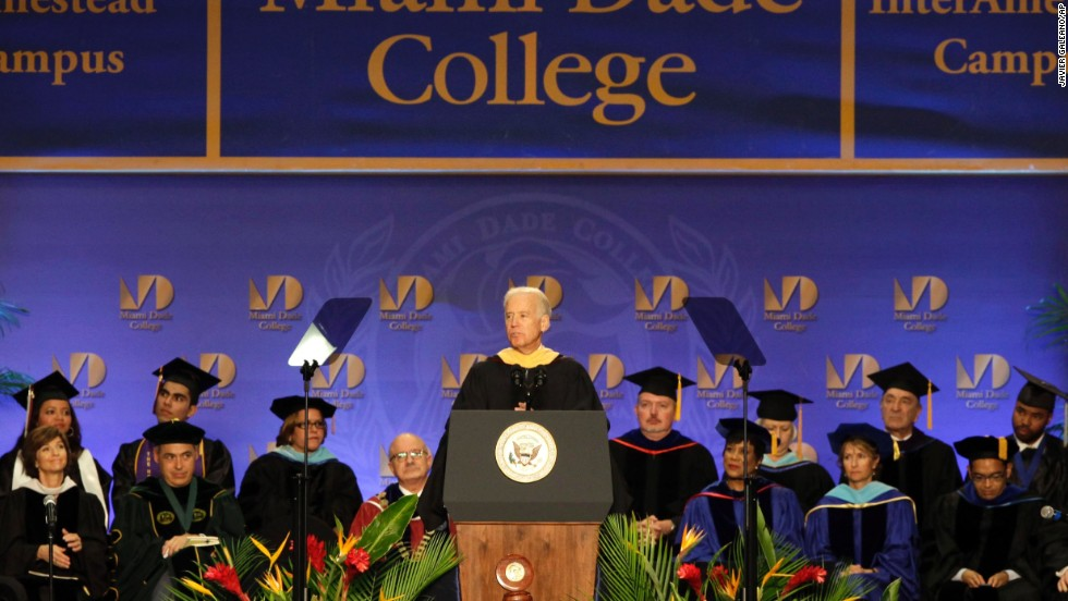 The vice president of the United States gives the commencement addresses at Miami-Dade College on May 3. He later spoke at the University of South Carolina on May 9 and his alma mater, the University of Delaware, on May 31.<br />