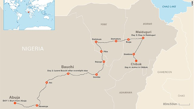 Map: Nima Elbagir's route to Chibok