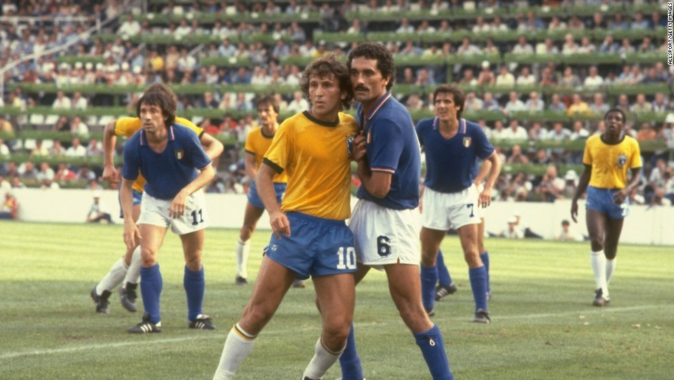 <strong>Brazil's 1982 World Cup team: </strong>Zico (#10) was marked by bruising defender Claudio Gentile of Italy during the second round match at the Sarria Stadium in Barcelona. Italy won the match 3-2 on the back of a Paolo Rossi hat-trick.