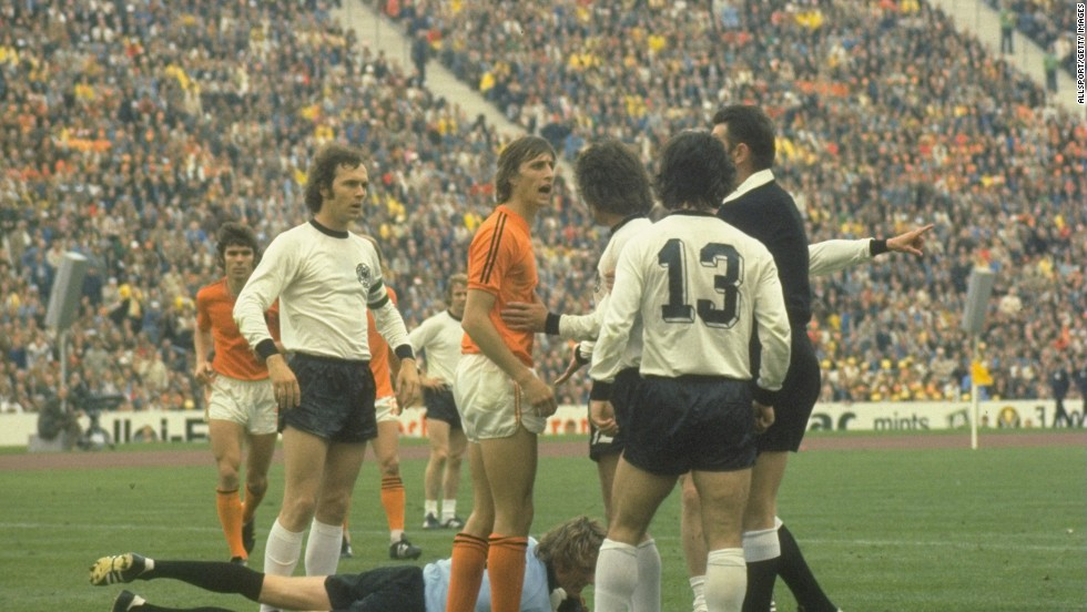 It was supposed to be the year when Johan Cruyff's Dutch side swept to victory and claim the 1974 World Cup with its brand of 'Total Football.' The Dutch side had powered its way to the final and took the lead in the second minute without opponent, West Germany, even touching the ball. But despite going ahead through Johan Neesken's penalty, the Dutch failed to hold on and lost 2-1.