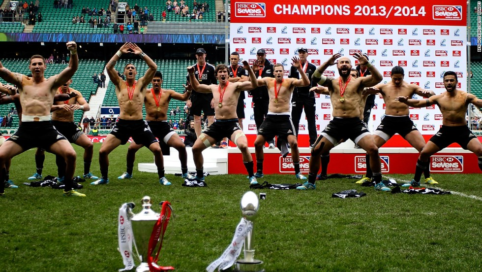 New Zealand perform their traditional haka dance in front of both the HSBC World Series trophy and the London Sevens prize.