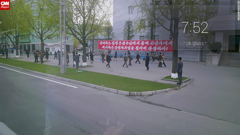 """""""The banner said something like 'Fully execute the missions that our beloved General Kim Jung-un mentioned in this year's New Year Statement' -- I know some basic Korean,"""" says Zhu."""