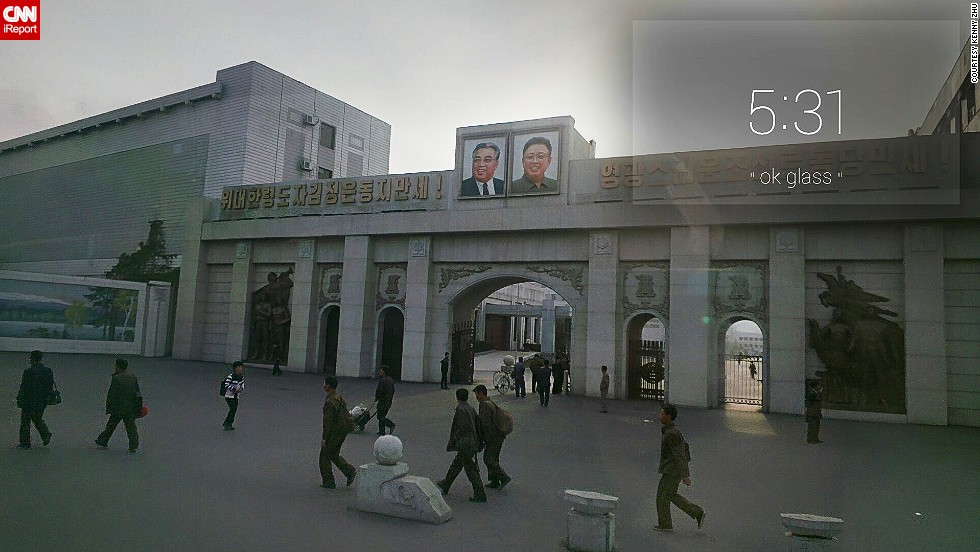 """The words beside the two photos translate roughly as """"Long live the The Great Leader Kim Jong-un,"""" and """"Long Live the Sun-Like Workers' Party of Korea."""""""