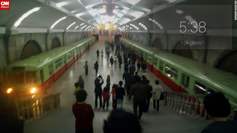 "Zhu also recorded two videos from the Pyongyang metro station. The short clips can be viewed on his original<a href=""http://ireport.cnn.com/docs/DOC-1130606""> iReport submission: North Korea..through Google Glass</a>."