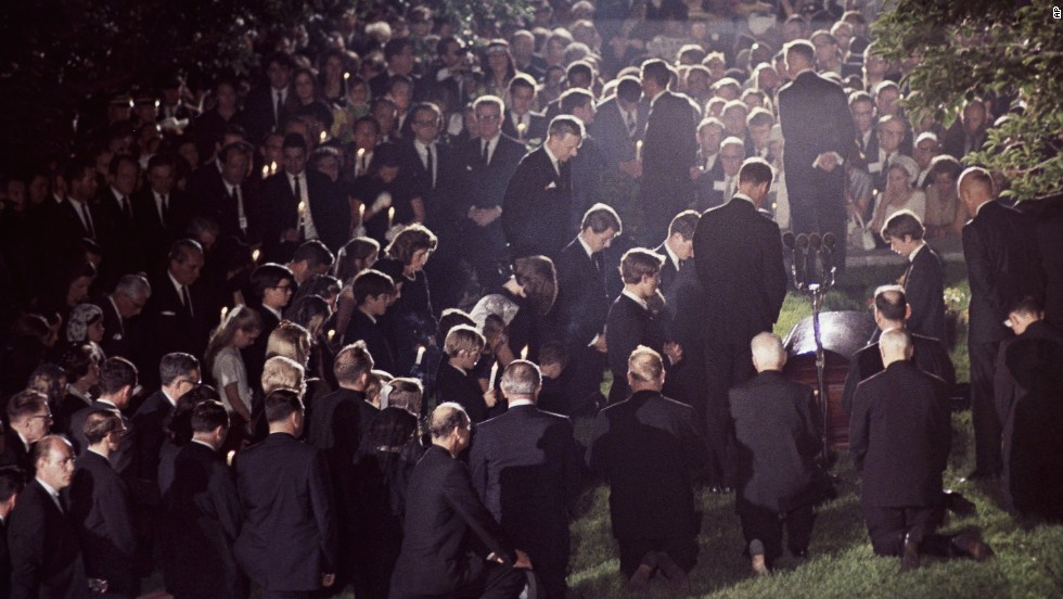 Mourners at the burial of Sen. Robert F. Kennedy at Arlington National Cemetery on June 8, 1968.