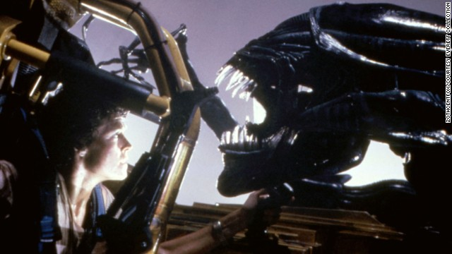 "Sigourney Weaver meets the Alien in 1986's ""Aliens."""