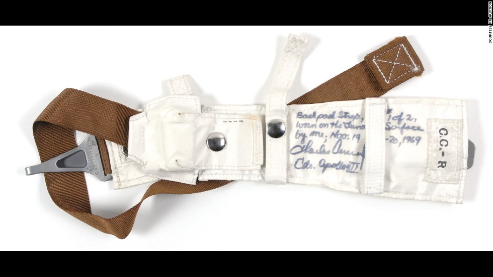 "This backpack strap held a personal life-support system for Charles ""Pete"" Conrad, commander of the Apollo 12 mission, during both of his moonwalks in November 1969. The straps were custom-made for each astronaut, and Conrad kept his as a personal memento. It sold for $52,649."