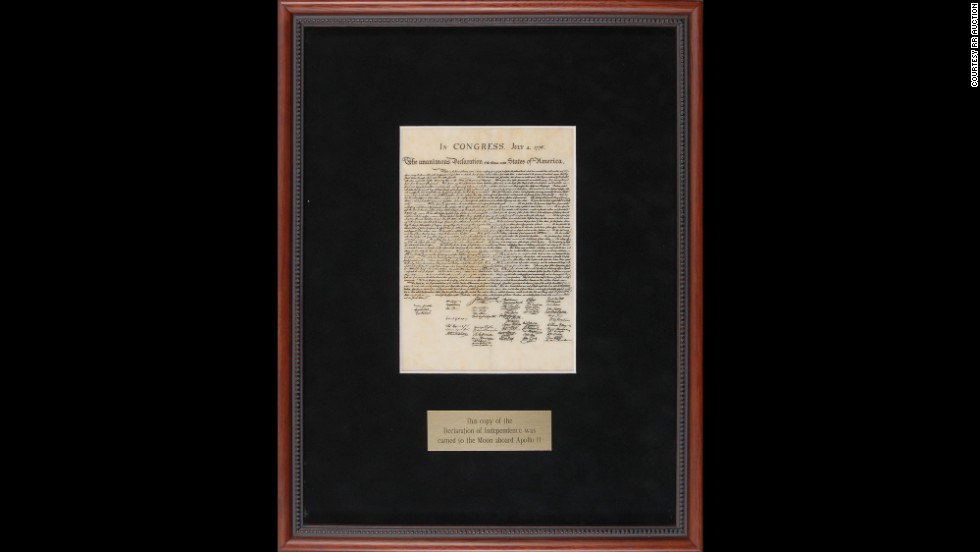 A reproduction of the Declaration of Independence was carried to the moon aboard Apollo 11 in 1969. It includes a handwritten note from pilot Michael Collins. Sold for $31,409.