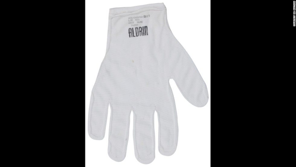 This nylon glove liner was worn by astronaut Buzz Aldrin under his pressurized gloves on the lunar surface during the historic Apollo 11 mission. His name is stamped in the fabric. Sold for $61,212.