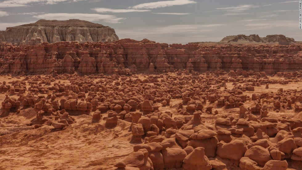 Don't worry. The goblins at Goblin Valley State Park in Utah can't get you. They're really mushroom-shaped hoodoos formed by water erosion and dust blowing across the valley.