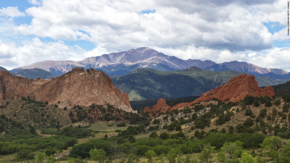 Catch a grand view of Pikes Peak from Garden of the Gods, some 1,300 acres of cliffs and boulders owned by the city of Colorado Springs, Colorado.