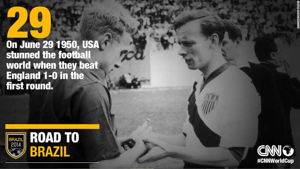 Heavy favorites England had a short-lived World Cup debut when they were knocked out of the tournament in the first round by the USA in 1950. Here the captains of England and USA, Billy Wright and Ed McIlvenny, right, exchange souvenirs at the start of their match on June 29, 1950 in Belo Horizonte, Brazil.