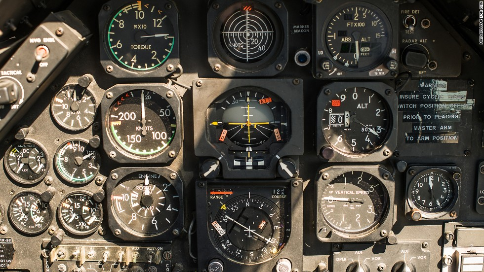 The cockpit of Huey 354, a retired Army helicopter that was in service during the Vietnam War.