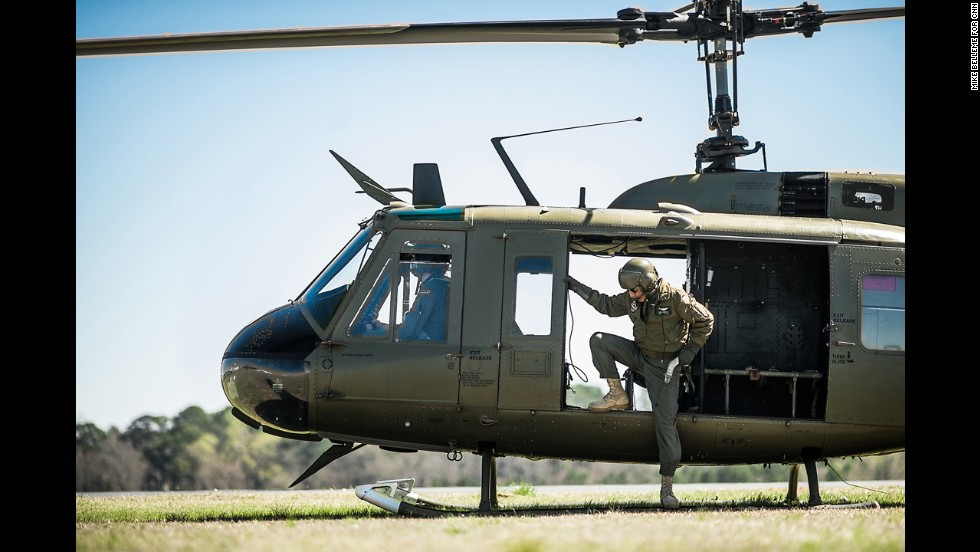 A retired Huey lands at the Columbus Airport before the Thunder in the Valley airshow on Friday, March 14.