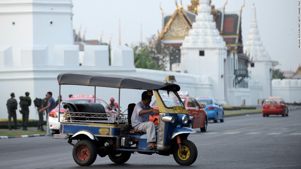 Affectionately known as tuk tuk, because of the noise it emits, the vehicle is a Thai symbol -- utilized by its people and beloved by tourists in Bangkok.