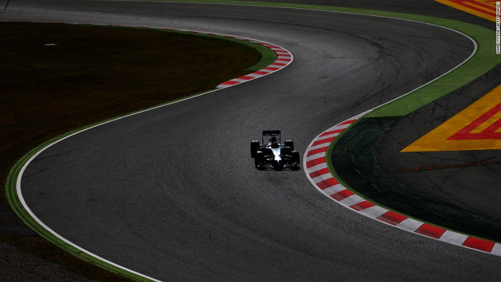 Jenson Button of Great Britain drives at the Circuit de Barcelona-Catalunya in Montmelo, Spain, on Friday, May 9.
