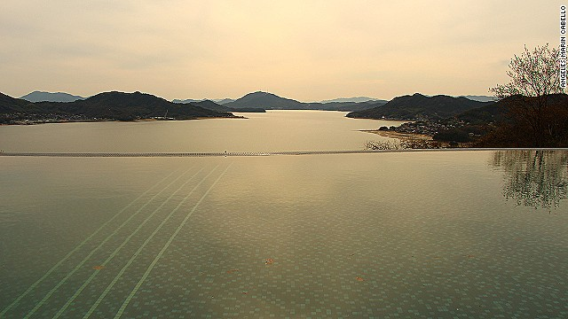 View from the pool at Bella Vista Hotel, Onomichi.