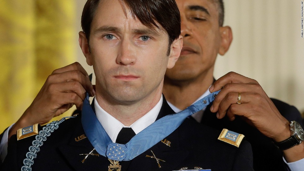"Obama gives former Army Capt. William Swenson the Medal of Honor during a White House ceremony in October 2013. Swenson was cited for ""his exceptional leadership and stout resistance against the enemy during six hours of continuous fighting"" in 2009, according to the Army."