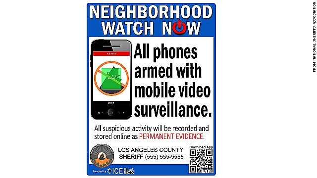 The National Sheriffs Association plans to post neighborhood watch signs like this one around the country.