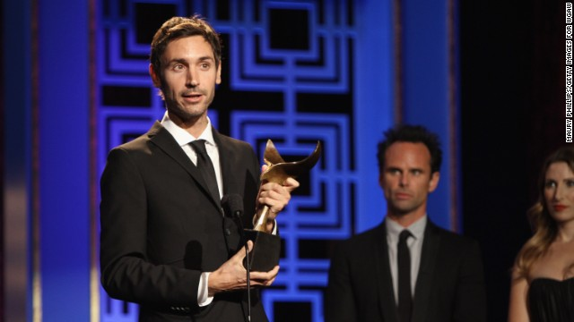 LOS ANGELES, CA - FEBRUARY 17, 2013: Writer Malik Bendjelloul accepts the Writers Guild Award for Documentary Screenplay onstage during the 2013 WGAw Writers Guild Awards. (Photo by Maury Phillips/Getty Images for WGAw)