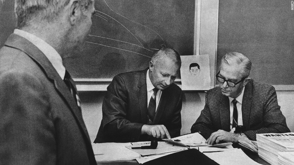 Law enforcement officers meet in San Francisco in 1969 to compare notes on the Zodiac Killer, who is believed to have killed five people in 1968 and 1969. The killer gained notoriety by writing several letters to police boasting of the slayings. He claimed to have killed as many as 37 people and has never been caught.