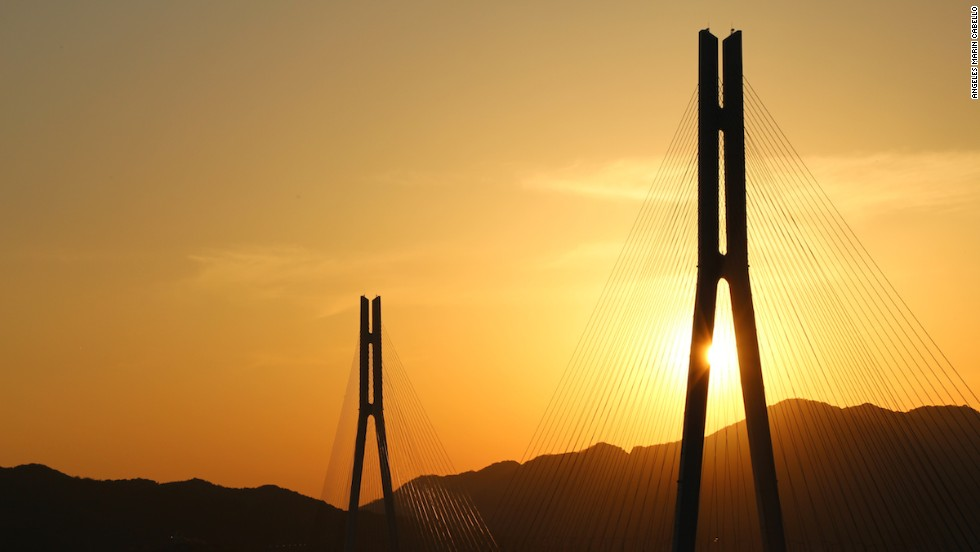 Tatara is one of the world's longest cable-stayed bridges. Its elegant 220-meter-high steel towers represent the folded wings of a crane.