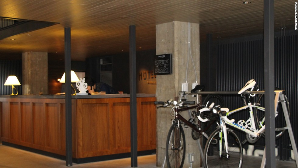 No need to park outside here. Onomichi's Hotel Cycle has a bike rack next to the check-in desk. The town is a popular starting and ending point for those hitting the Shimanami Kaido bike trail.