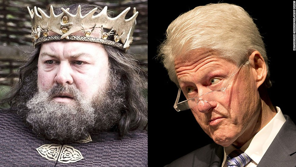 <strong>Robert Baratheon / Bill Clinton:</strong> Both are charismatic, natural leaders whose time in office was complicated by their inability to control their appetites. Both burdened their wives and country with salacious sex scandals. Good thing there was no TMZ around when Robert Baratheon sat on the iron throne.