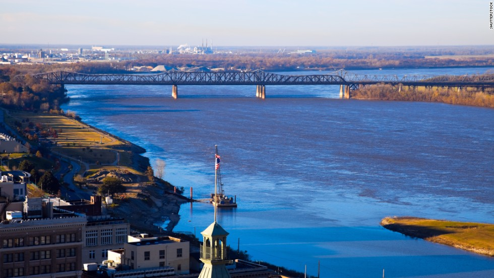 Just across a bluff from Mississippi, the city of Memphis, Tennessee, rose from the cotton fortunes across the state line. It's the perfect spot to start a Delta visit and serves as the region's unofficial capital. The mighty Mississippi River, shown here, is seen from Memphis.