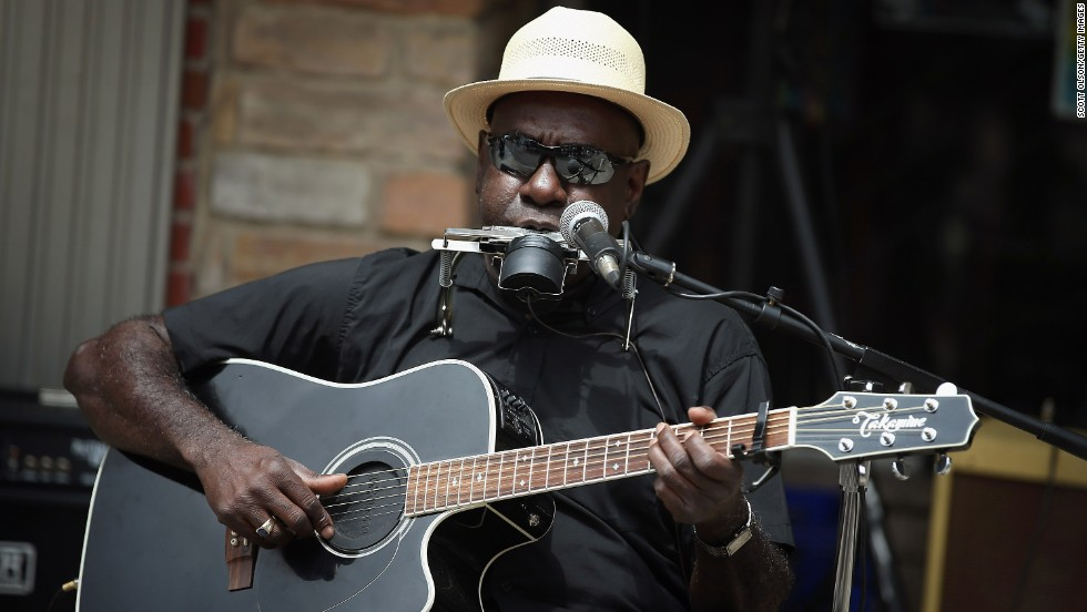 """Blues artist Richard Pryor performs outside the <a href=""""http://www.blues2rock.com/Blues2Rock/Home.html"""" target=""""_blank"""">Rock & Blues Museum</a> at last year's Juke Joint Festival in Clarksdale, Mississippi. Located at the crossroads of Highways 61 and 49, Clarksdale is famous for the blues. Legend has it that this is where Robert Johnson sold his soul to the devil in exchange for his mastery of the blues guitar."""