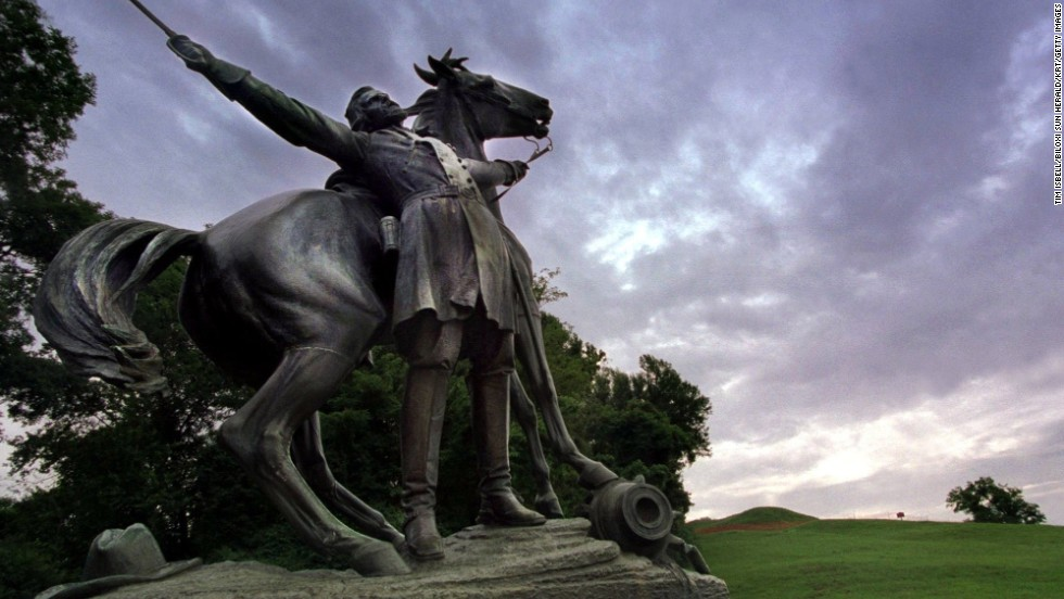 """<a href=""""http://www.nps.gov/vick/index.htm"""" target=""""_blank"""">Vicksburg National Military Park</a> provides a sobering reminder of the Civil War and one of its key battles. Confederate soldiers surrendered to Union troops on July 4, 1863. The statue shown here depicts Confederate general Lloyd Tilghman's death during the battle of Champion Hill."""