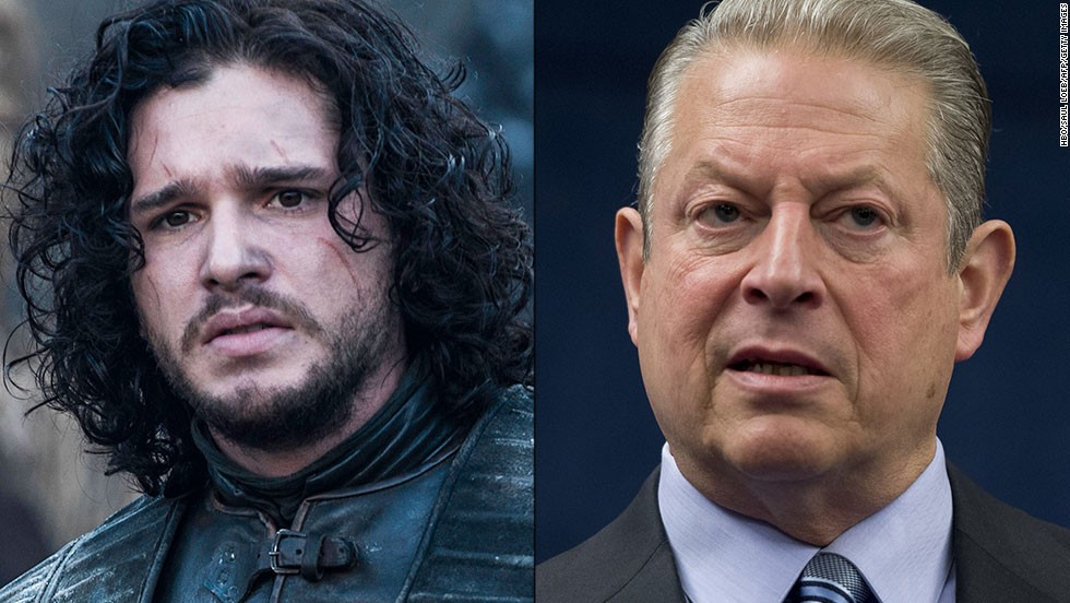 "<strong>Jon Snow / Al Gore: </strong>Snow, the bastard son of one of the show's most honorable characters, has better hair than Gore, but both shared the same mission. Snow is trying to warn his countrymen an environmental apocalypse is approaching; Gore tried to do the same with ""An Inconvenient Truth."" His global warming message is still disputed by conservative media and many Americans. Their response: ""You know nothing, Al Gore."""