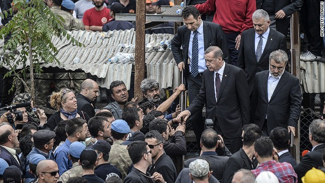 Turkish prime minister Recep Tayyip Erdogan visits the site where 120 workers were believed to remain trapped in a mine after a deadly explosion that claimed the lives of at least 238 people on May 14, 2014 in a coal mine of the western Turkish province of Manisa. AFP PHOTO/BULENT KILICBULENT KILIC/AFP/Getty Images