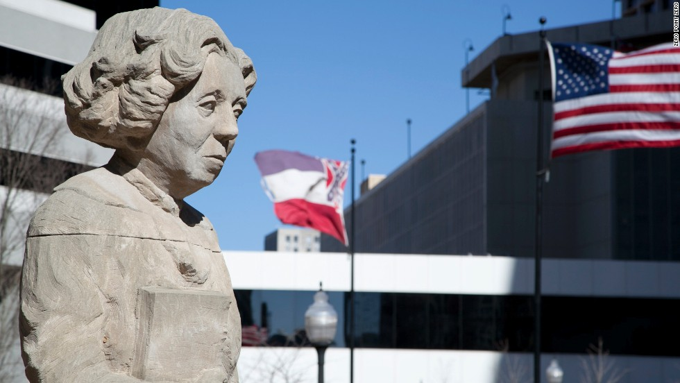 """A statue of <a href=""""http://eatocracy.cnn.com/2014/02/18/eudora-welty-and-william-maxwell-food-friendship-and-letters/"""">Eudora Welty</a> stands in downtown Jackson. The Pulitzer Prize-winning author was born in the city. She died in 2001 at age 92."""