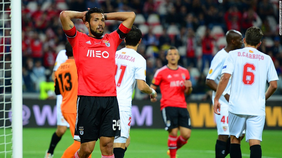 Ezequiel Garay (left) is just one Benfica player left ruing missed chances in the first 90 minutes of the Europa League final at the Juventus Stadium in Italy.