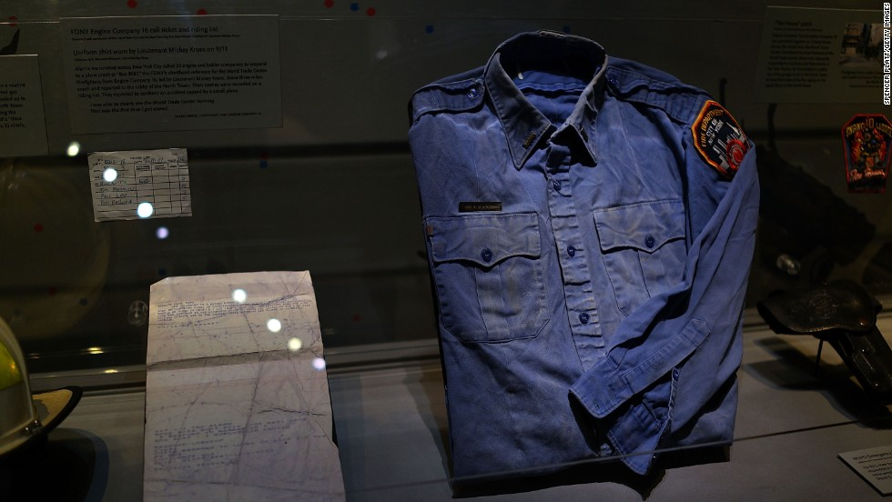 A firefighter shirt from ground zero is on view.