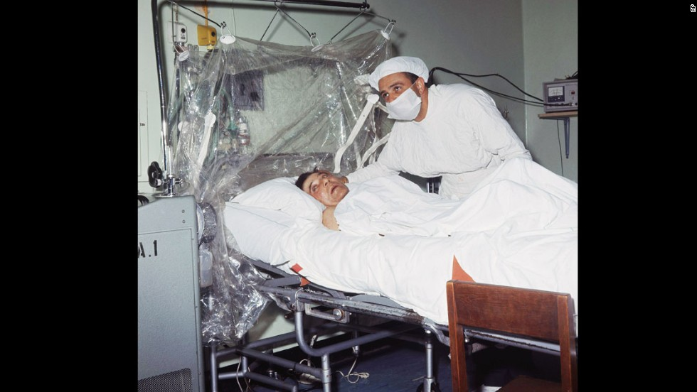 Dr. Christiaan Barnard is shown after performing the first human heart transplant on patient Louis Washkansky on December 3, 1967, in Cape Town, South Africa.