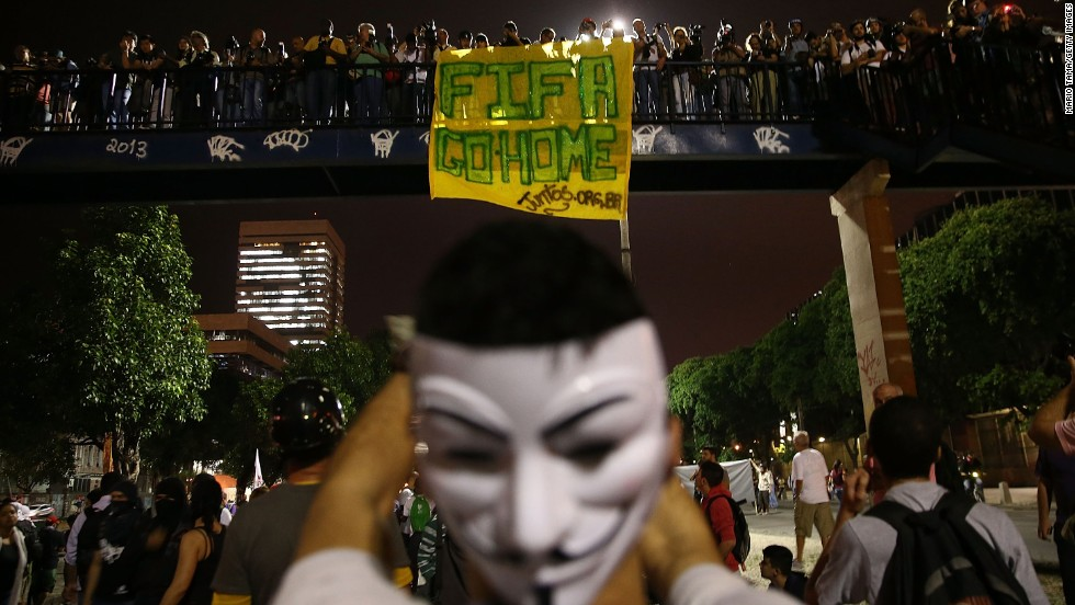 People gather in Rio de Janeiro to protest against this summer's World Cup on Thursday, May 15. The protests broke out across Brazil as citizens expressed anger over the government spending money on the soccer tournament instead of on low-income housing or services such as health and education.