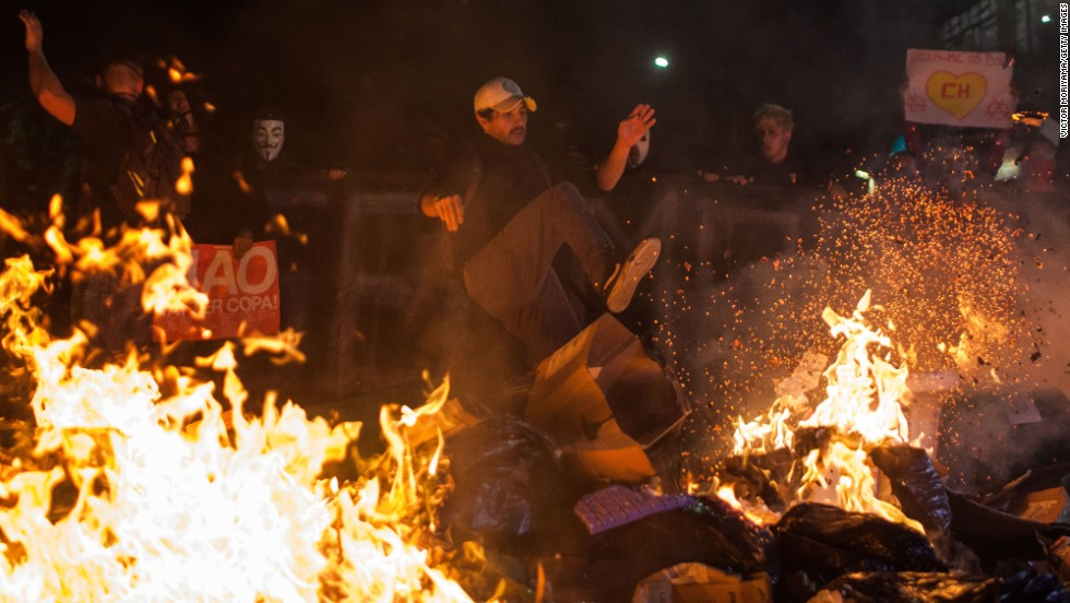 Protesters clash with policemen in Sao Paulo, Brazil, on May 15.