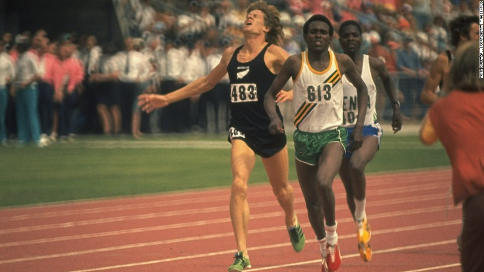 In 1974 Filbert Bayi beats New Zealand's John Walker, left, and Ben Jipcho of Kenya, right, to win the 1500-meters and set a new World Record at the Commonwealth Games in Christchurch, New Zealand.