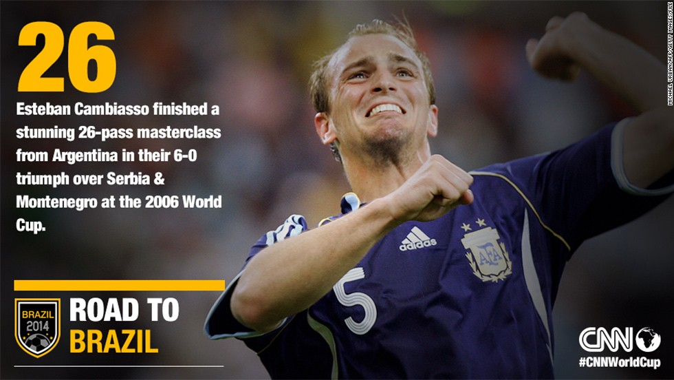 "An incredible performance from Argentina on June 16 2006, saw the ""Albicelestes"" in fine form against Serbia and Montenegro. But it was Cambiasso's goal in the 31st minute that has gone down in World Cup history."